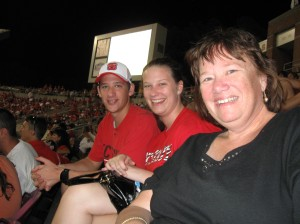 Greg, Anna & Mom at the game on Saturday