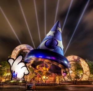Disney's Hollywood Studios Lit up at night