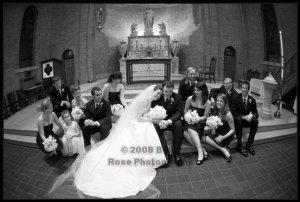 The whole wonderful wedding party