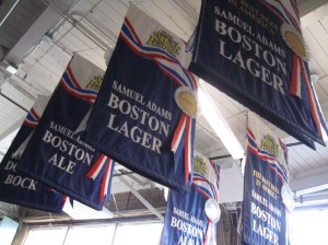 Banners inside the brewery