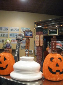 Taps in the tasting room decorated for Halloween